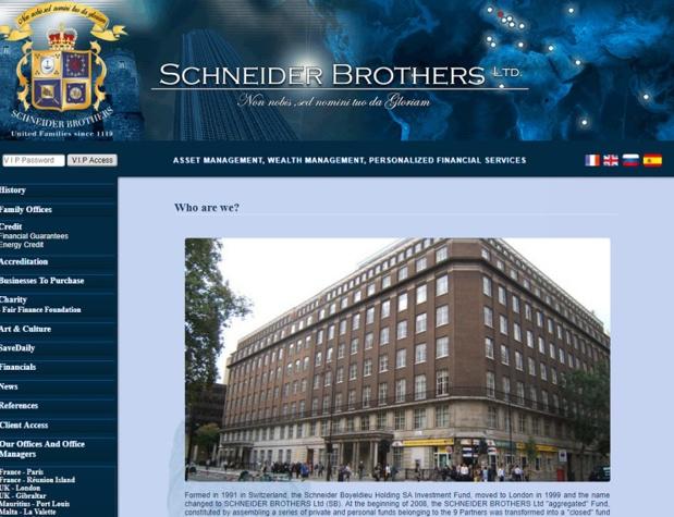 Les opérateurs de voyages et de séjours garantis par Schneider Securities – SB Securities ont jusqu'au 31 décembre 2017 pour trouver un autre garant financier - DR : Capture d'écran Schneider Brothers