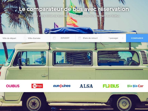 Depuis le mois de mars le site propose l'achat de billet en direct, et les retours sont plutôt encourageant puisque des réseaux d'agences de voyages s'intéressent à la start-up - Capture écran : sobus.fr