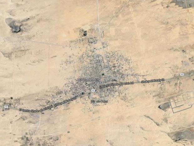 Le village de Bir El-Abd dans la province Al- Irish au Nord-Sinaï - photo satellite google