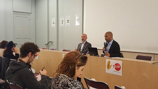 Dominique Sopo président de SOS Racisme et Yannick L'Horty, chercheur au TEPP-CNRS lors de la présentation de l'étude - Crédit photo : Compte Twitter @SOS_Racisme