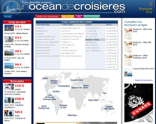 La page d'accueil du nouveau site CIC : une Océan de Croisières