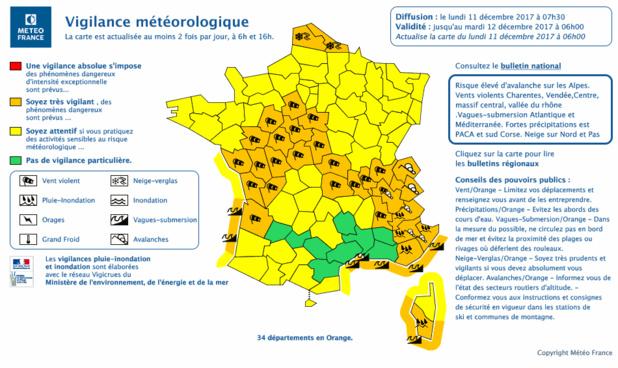 Tempête : 32 départements en vigilance orange