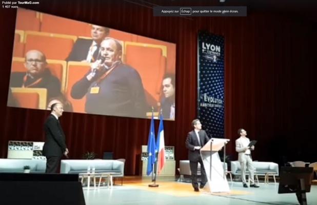 Pierre Creuzé lors de l'intervention de Nicolas Sarkozy au Congrès du Selectour à Lyon - Photo CE