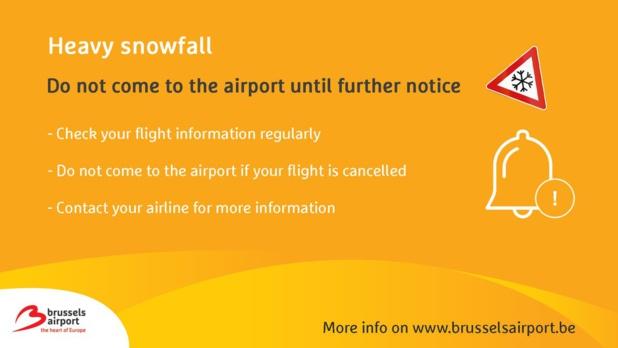 Neige : l'aéroport de Bruxelles recommande de ne pas se rendre à l'aéroport