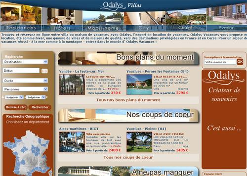 La page d'accueil de Villas-odalys.com