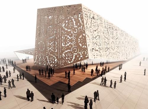 Le pavillon qui représentera la Pologne  à la prochaine exposition universelle. de 3 000 m2 est fabriqué principalement en bois, y compris la façade dont les motifs sont découpés au laser.