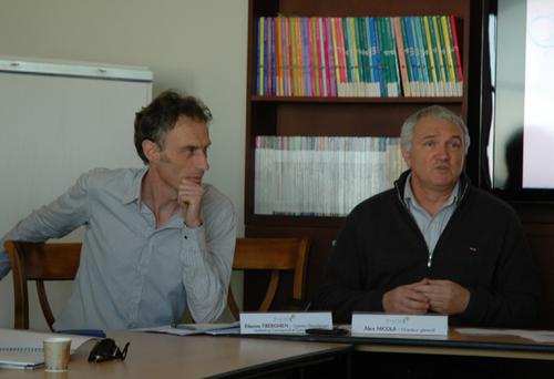 Etienne Tiberghien, Directeur Département Commercial et Marketing et Alex Nicola Directeur général dans les nouveaux locaux au SILO, sur le port autonome de Marseille