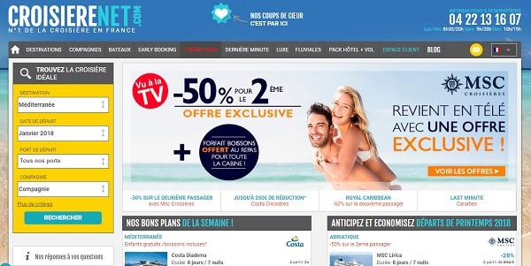Capture écran du site croiserenet.com appartenant au groupe Cruiseline