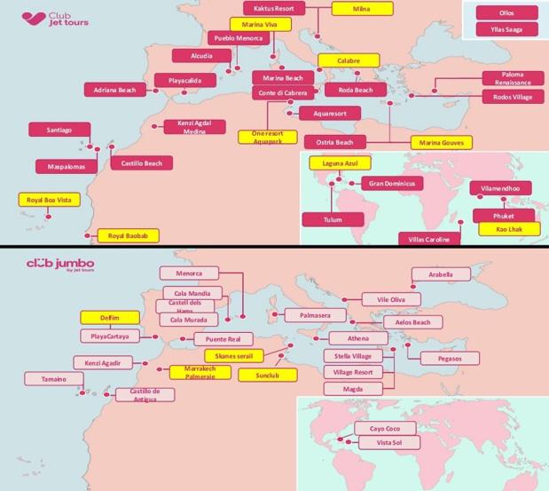 Les 9 clubs à ouvrir en 2018 sont en jaune sur les cartes - Crédit photo : Jet tours