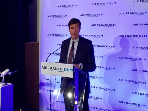 Franck Terner, DG d'Air France, tirant un premier bilan de l'année 2017 du groupe Air France-KLM, le 10 janvier à Paris © DR Twitter Air France KLM