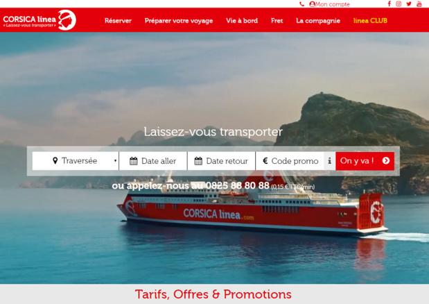 Le tout nouveau site Internet de Corsica Linea mis en ligne début janvier 2018 - Capture écran
