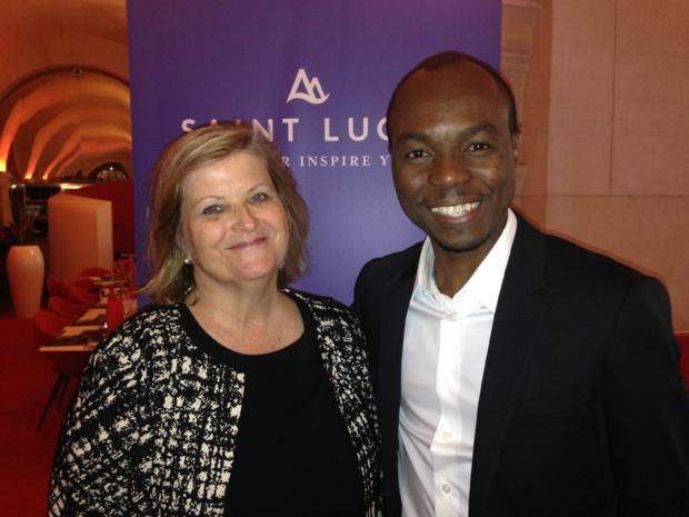 Isabelle Coornaert, représentante de l'office de tourisme de Sainte-Lucie à Paris et Dominic Fedee, ministre du Tourisme de Sainte-Lucie. - CL.