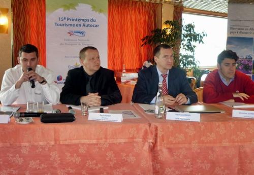 François Greyer responsable E-Marketing d'Europatours Schmittours, Paul Royer directeur du 15 Printemps de l'Autocar, Patrick Barbier directeur commercial SDV plurimedia et Christian Schmitter directeur de CroisiEurope.