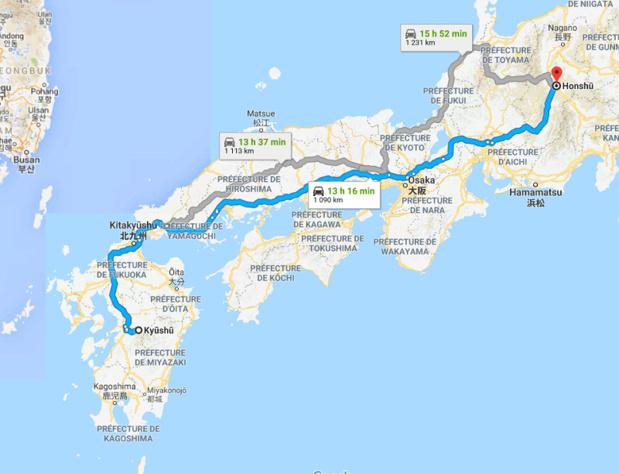Activité volcanique à Honshu et Kyushu - DR Capture écran