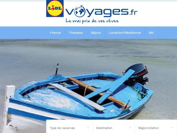 Le site Lidl Voyages lancé il y a 6 mois - DR Capture écran