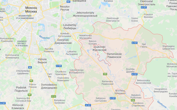 L'appareil se rendait vers Orsk, une ville de l'Oural et s'est écrasé dans le district Ramensky de la région de Moscou. - Google MAP