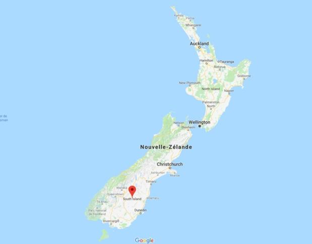 Suite aux vents violents et fortes pluies enregistrés en Nouvelle-Zélande les 20 et 21 février 2018, des inondations et glissements de terrain entraînent la fermeture de certains tronçons routiers dans le l'île du Sud - Google Map