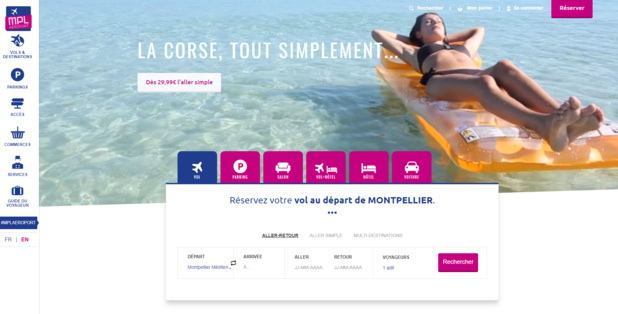 L'aéroport de Montpellier propose un www.montpellier.aeroport.fr tout beau, tout neuf - Crédit photo : capture écran du site