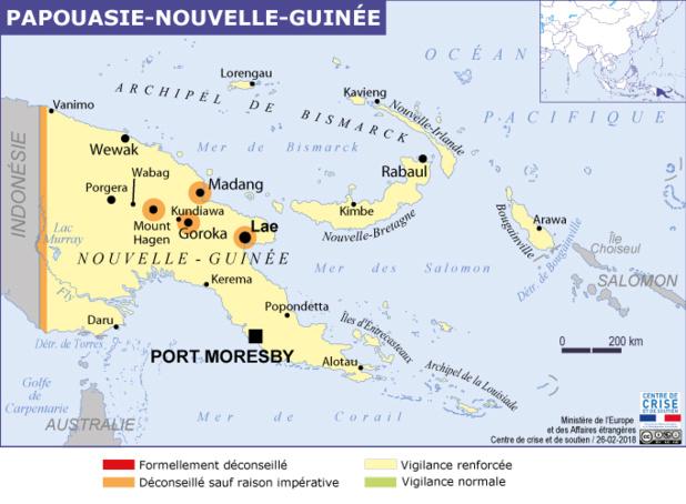 La carte publiée par le Ministère des Affaires Etrangères - DR