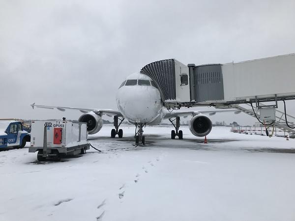 5 vols annulés à Biarritz à cause de la neige, ce mercredi 28 février 2018 - Crédit photo : Emilie Cabannes