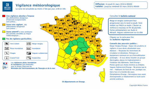 Météo France : 56 départements en vigilance orange, les transports perturbés