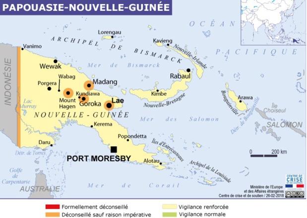 Un séisme d'une magnitude de 6 a été ressenti dimanche 4 mars 2018 en Papouasie-Nouvelle-Guinée - Crédit photo : capture écran site diplomatie.gouv.fr