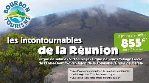 """Séjour spécial groupes 8 jours/7 nuits  """"Les incontournables de la Réunion"""" à partir de 855 euros TTC par personne  avec Bourbon Tourisme"""