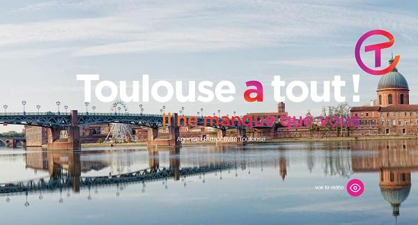"""Toulouse lance sa campagne """"Toulouse à tout"""" en Europe - Crédit photo : capture écran site web toulouseatout.com"""