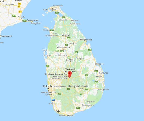 Le Quai d'Orsay informe que des incidents inter-communautaires violents se sont produits dans la région de Kandy (Digana, Teldeniya, Pallekele, centre du pays) - Photo Google Maps