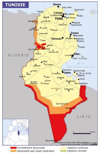 Les zones en rouge sont fortement déconseillées par le Quai d'Orsay - Crédit photo : capture écran du site diplomatie.gouv.fr