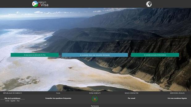 copie d'écran du portail officiel de délivrance de e-visa pour Djibouti