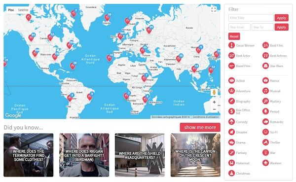 Musement met en ligne une carte interactive des lieux de tournage de 442 films oscarisés - Crédit photo : capture écran Musement