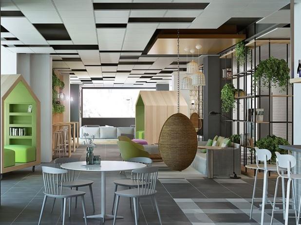 bureau, lieu de vie, échanges humain ou technologie, le nouveau Campanile se veut ludique, entre esprit start-up et familial - © Jin-Jiang Louvre Asia