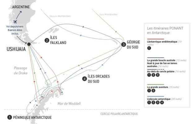 Les itinéraires Ponant en Antarctique - DR