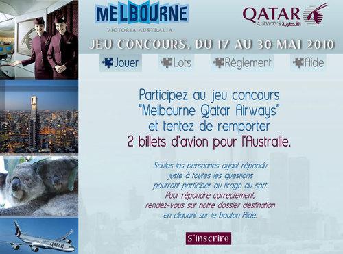 Qatar Airways / Etat de Victoria : 2 billets à gagner vers Melbourne pour les AGV