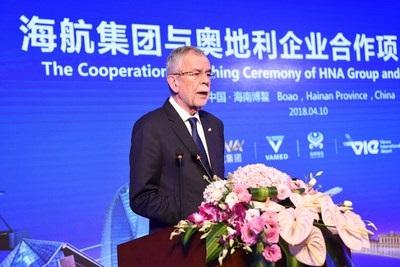 Le président Autrichien a annoncé la création de la ligne entre Shenzhen et Vienne - Crédit photo Hainan Airlines