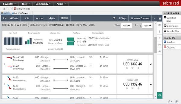 Capture écran de : Sabre Red Workspace