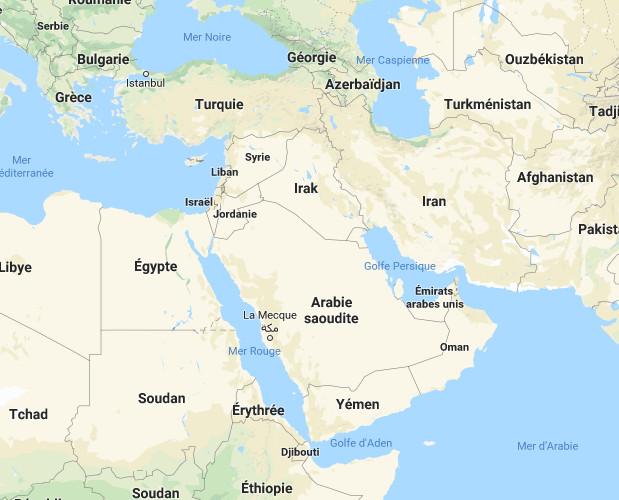Crise syrienne, les voyageurs sont invités à faire preuve d'une vigilance accrue dans la préparation de leurs déplacements a indiqué le Quai d'Orsay concernant plusieurs pays du Moyen-Orient - DR Google Map