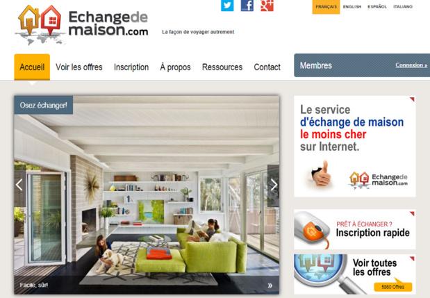 Le site EchangedeMaison.com - Capture écran