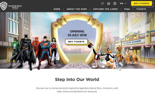 Les billets d'entrée du Warner Bros. World™ Abu Dhabi sont actuellement disponibles sur wbworld.com - Capture écran