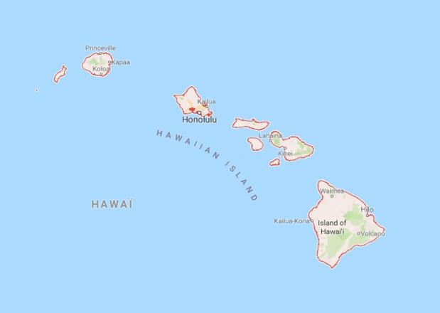 Les îles Hawaii font face à de violentes intempéries - DR google Map