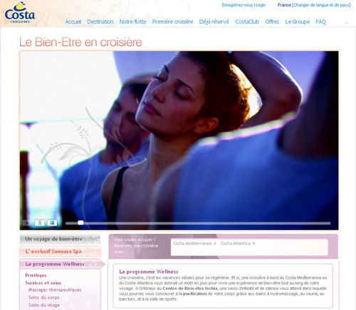 Costa Croisières met en ligne un espace dédié au bien-être