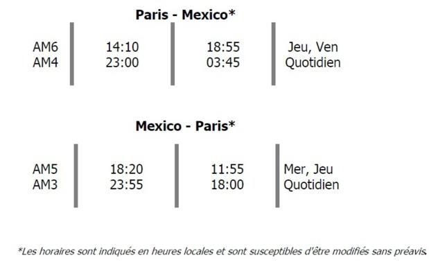 Aeromexico : 2 fréquences supplémentaires sur Paris - Mexico