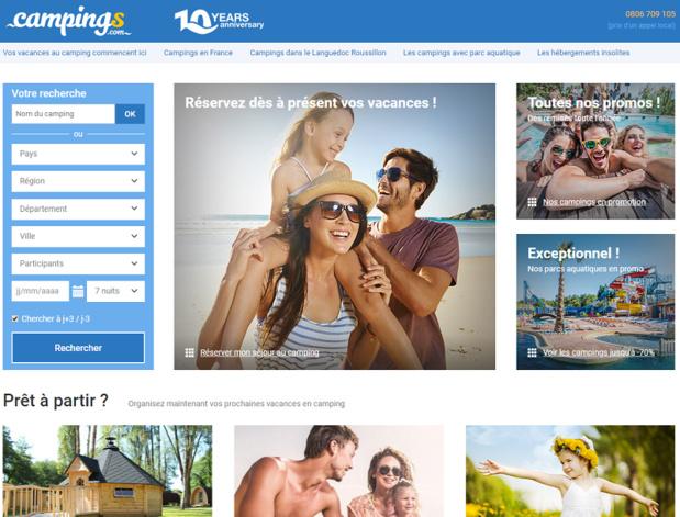 Campings.com, moteur de réservation d'hébergements de plein air  lève 10 millions d'euros - Capture écran