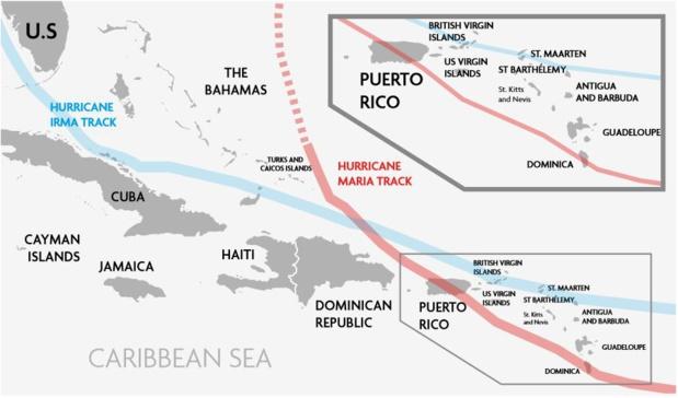 Le passage des ouragans Irma et Maria sur les Caraïbes en septembre 2018 - Source : Caribbean Disaster Emergency Management Agency