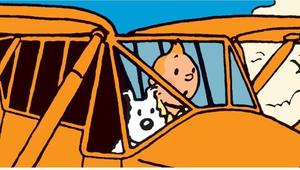 """Tintin et ses avions""  ©Hergé-Moulinsart 2018"