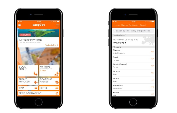 easyJet intègre la start-up LuckyTrip à son application - Crédit photo : easyJet