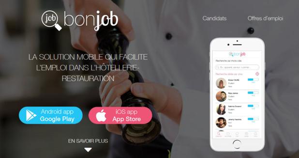 BonJob est une application et un site Internet de mise en relation de candidats et recruteurs du secteur de l'hôtellerie et de la restauration - DR : BonJob