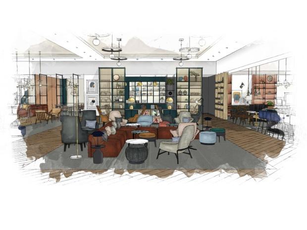 Proposition d'un espace ouvert pour le renouveau de la marque Sheraton - crédit : Marriott International
