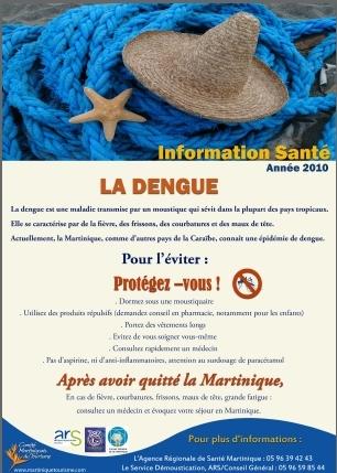 Le flyer d'information sur la dengue distribué aux visiteurs dès leur arrivée à l'aéroport